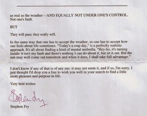 Письмо Стивена Фрая девушке, которая находилась в депрессии