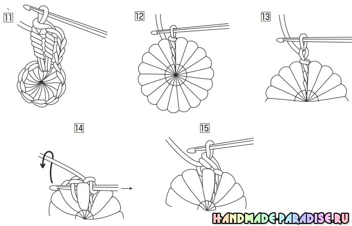 Сидушки из цветов витыми столбиками (5)