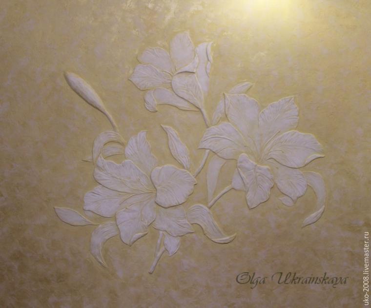 Делаем барельеф с лилиями на стене