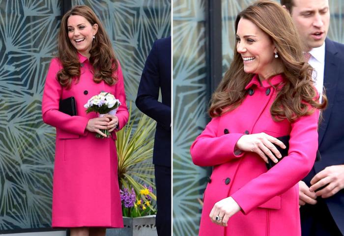 Кейт Миддлтон в ярко-розовом пальто от известного английского бренда «Mulberry».