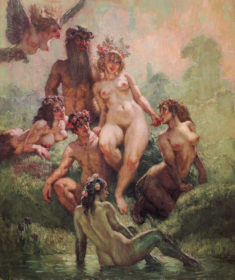 Прелестные нимфы, козлоногие обольстители и демоны в картинах Нормана Линдсея 41