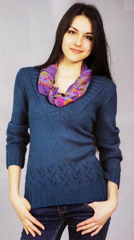 Пуловер из пряжи джинсового цвета