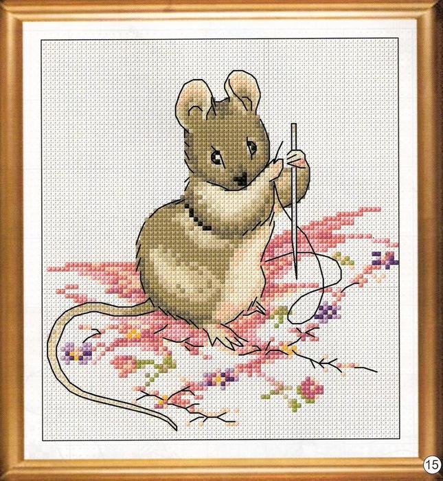 Вышивка с крестом мышка