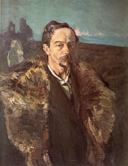 Автопортрет в шубе. Худ. С.Малютин. /Живописец запечатлел себя на фоне картины, которую писал 10 лет. В 1908-м она была уничтожена в результате наводнения.
