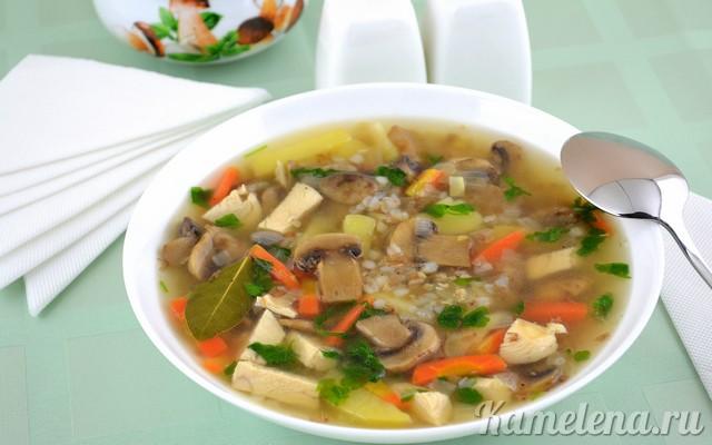 Рецепт суп грибной с гречкой пошагово
