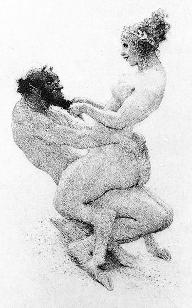 Прелестные нимфы, козлоногие обольстители и демоны в картинах Нормана Линдсея 8