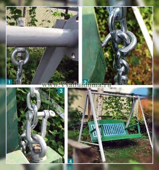 Качели садовые своими руками из металла на цепях 49