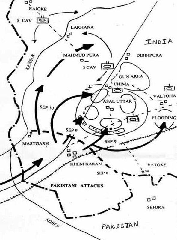 Карта боёв при Асал-Утаре 9–10 сентября 1965 года - Индо-пакистанская война 1965 года: танковое сражение за Асал-Утар   Военно-исторический портал Warspot.ru