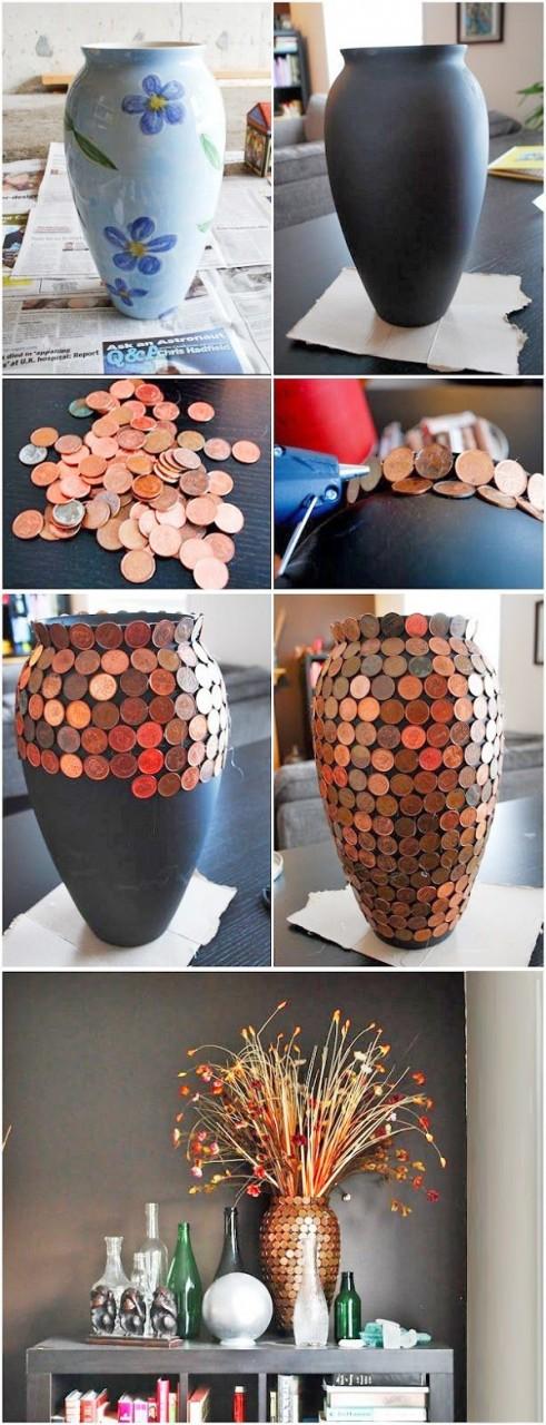 Обычные вазы можно превратить в привлекающие внимание, интересные вещи. Обклеить их монетами — проще простого, а эффект! дизайн, креатив, монета, украшение