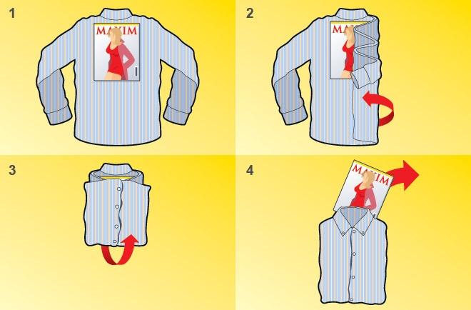 как сложить в чемодан рубашку