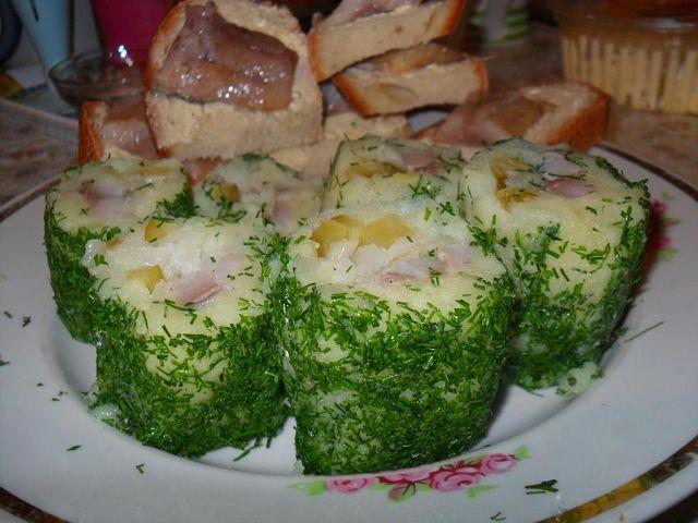 Картофельные роллы с сельдью
