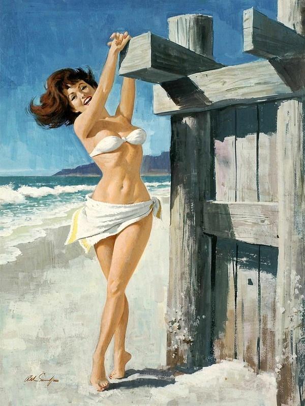 Пляжные забавы на старых открытках