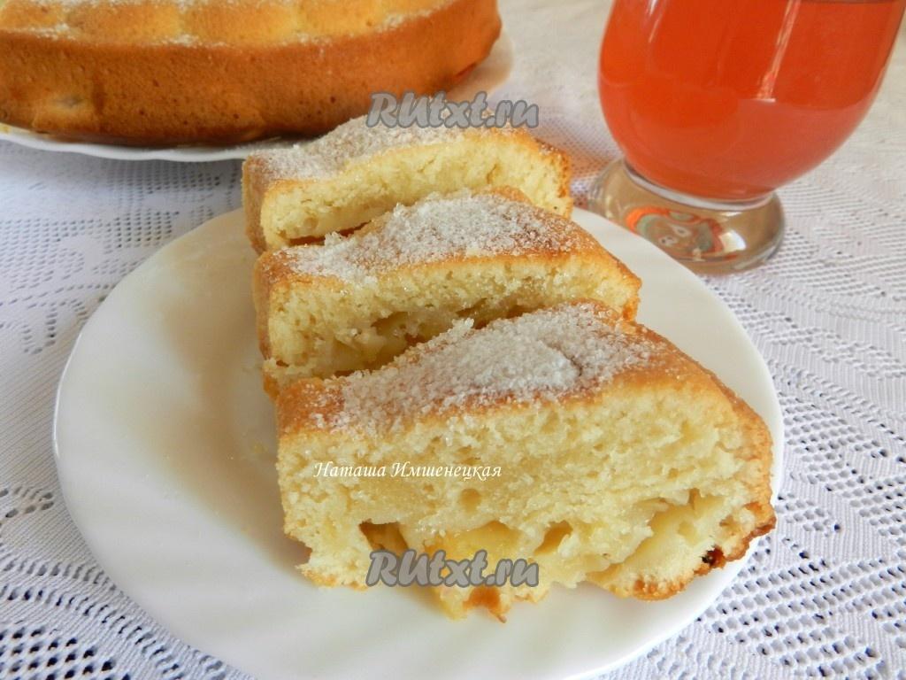 Пышный пирог с яблоками на кефире рецепт с фото