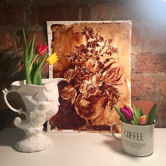 """Картины с ароматом кофе — нежные """"акварели"""", нарисованные бодрящим напитком"""