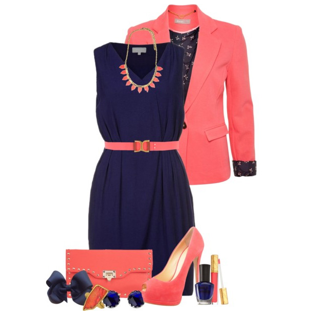 Тёмно-синее платье с чем носить
