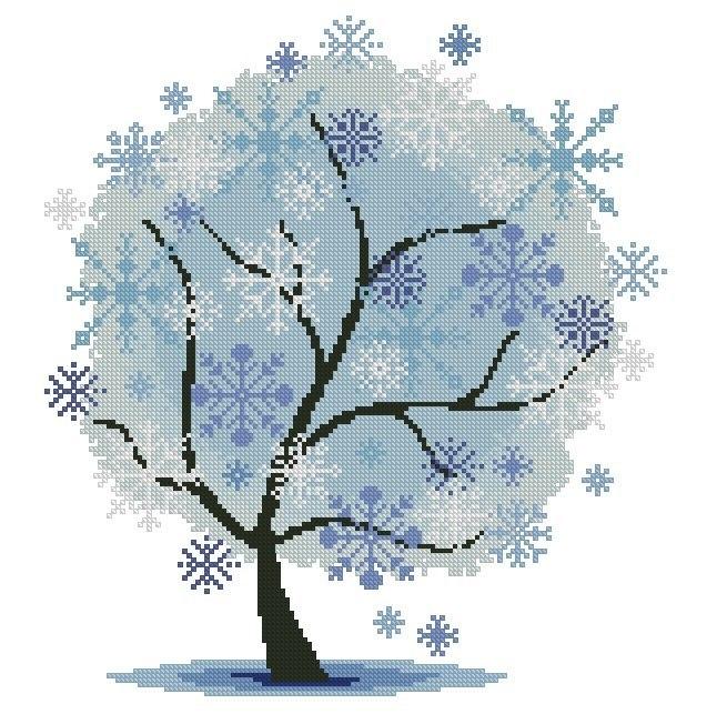 Вышивка крестом схема деревья времена года