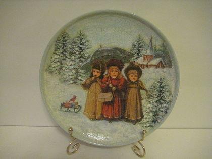 """Тарелки ручной работы. Ярмарка Мастеров - ручная работа тарелка """"На встречу Нового года""""(продана). Handmade."""