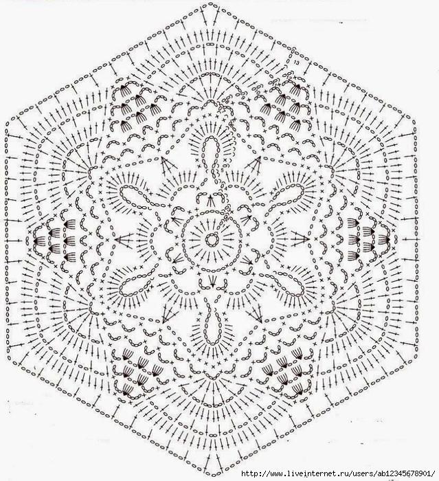 Шестиугольные мотивы крючком со схемами (30. - Вязание)