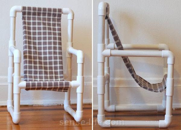 Детский стул из пластиковых труб