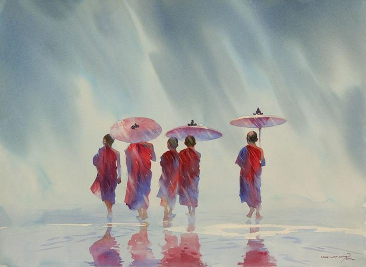 Акварели бирманского художника Мьё Вин Онг (Myoe Win Aung)