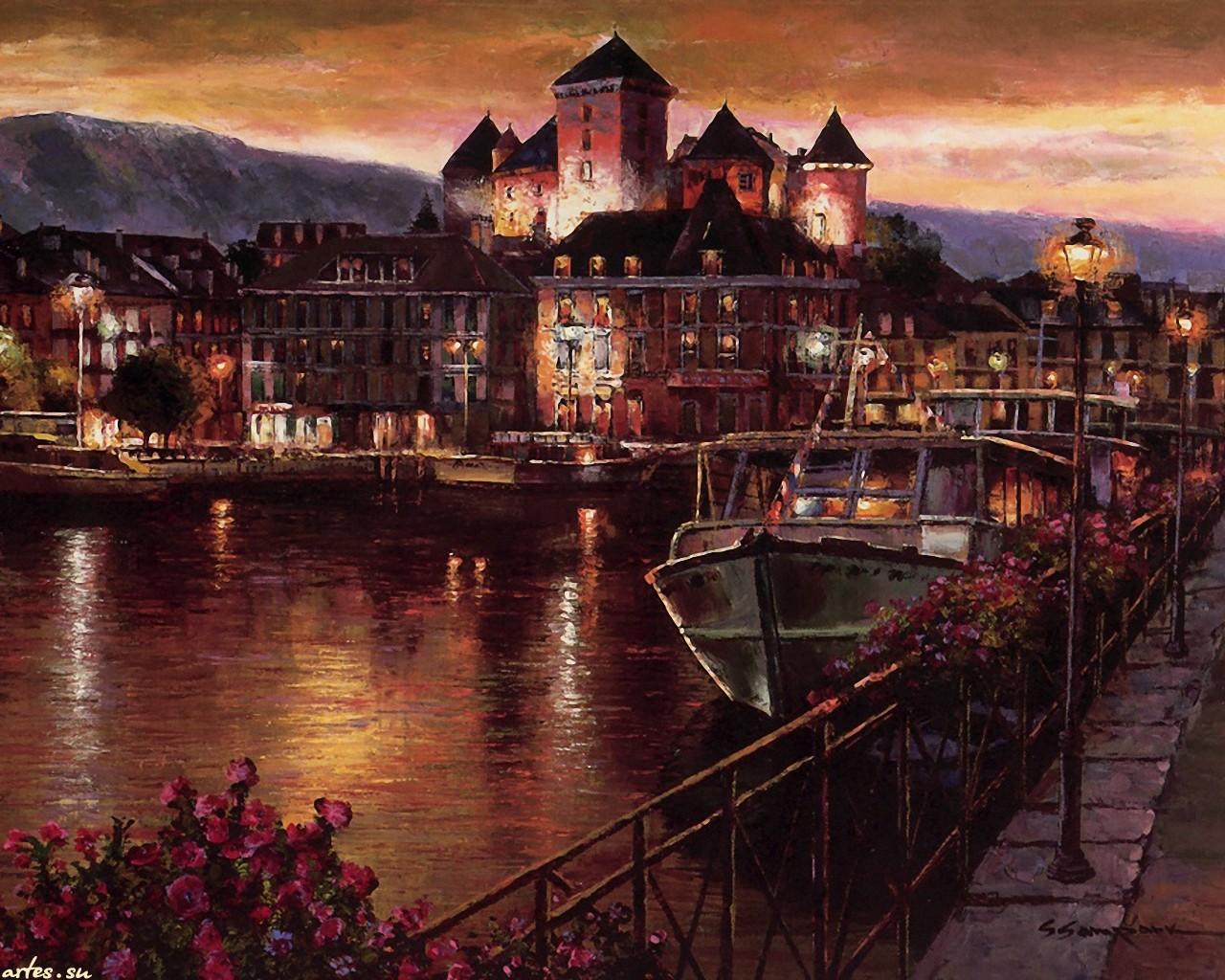 Скачать обои  пейзаж, ночной Анси, Франция, Sung Sam Park 1280x1024