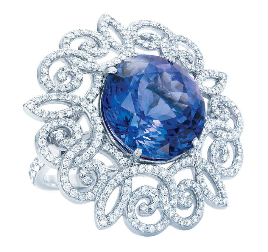 Tiffany Anniversary ring with a tanzanite,