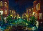 Картина: Ночной город. Городской пейзаж. Rybakow.com Картины маслом - живопись мастихином.