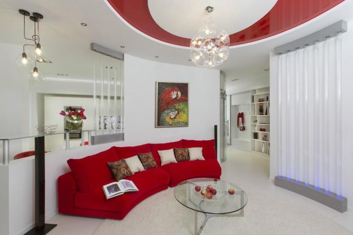 дизайн квартир в красном цвете фото