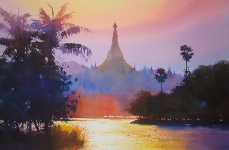 Акварельные картины художник Мьё Вин Онг 3