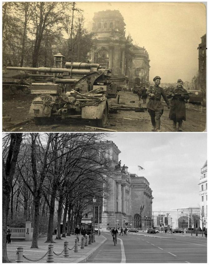 Берлин в руинах в 1945-ом и сейчас