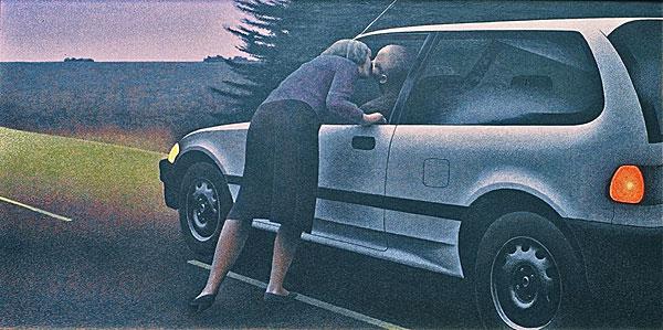 Поцелуй с Honda - картина Алекса Колвиллом