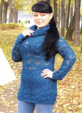 Бирюзовый пуловер реглан