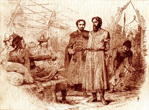 Князья Юрий и Михаил на ханском суде.