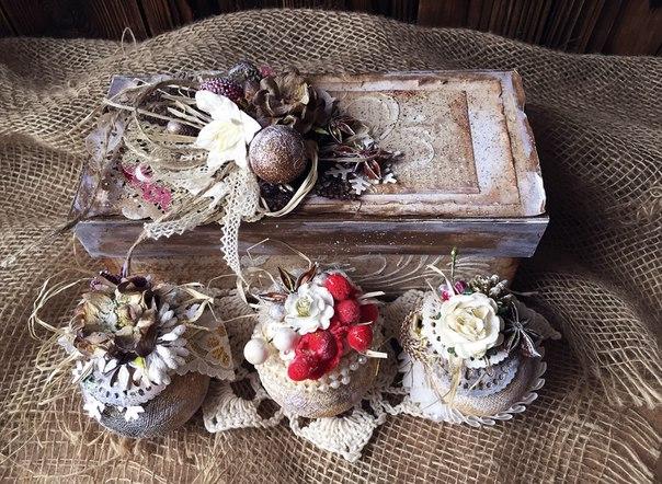 Мастер класс: оригинальные елочные украшения в подарочной коробке.