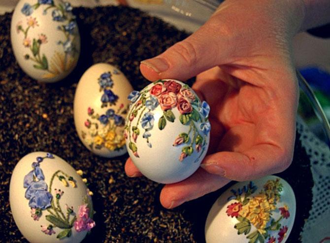 Яичная скорлупа с вышитыми цветами. Необычное искусство Элизабет Кляйн