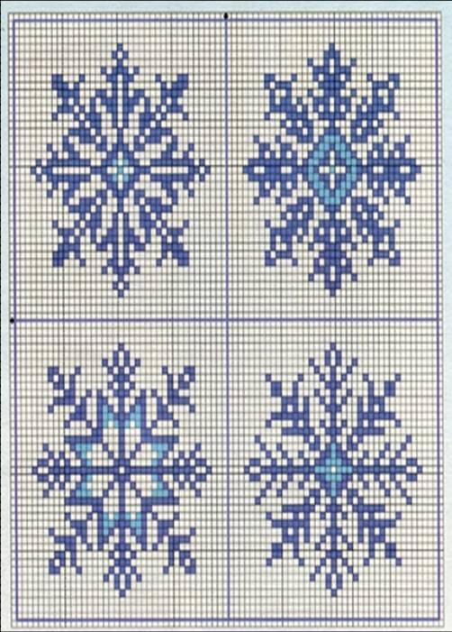 Вышивка снежинки крестом 80