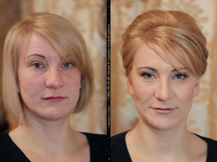 до и после макияжа, визажист Евгения Смирнова
