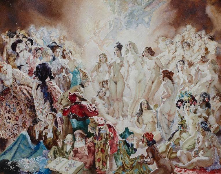 Прелестные нимфы, козлоногие обольстители и демоны в картинах Нормана Линдсея 25