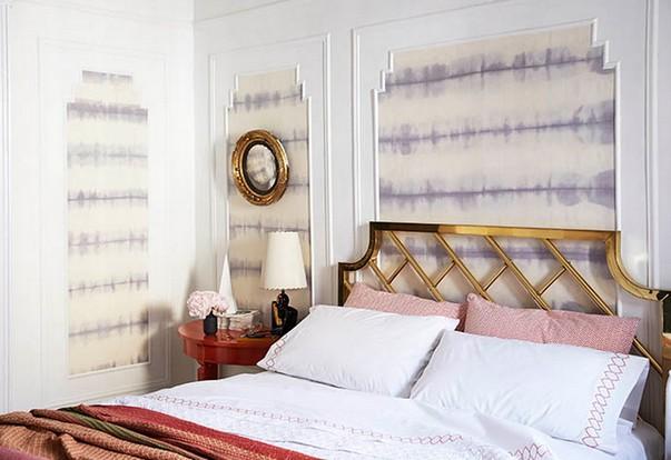 Как обновить стены при помощи ткани в спальне