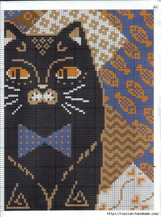 Декоративные подушки с КОШКАМИ. Вышивка крестом (5) (518x700, 396Kb)