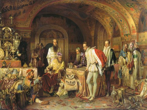 Иван Грозный показывает сокровища английскому послу Горсею.