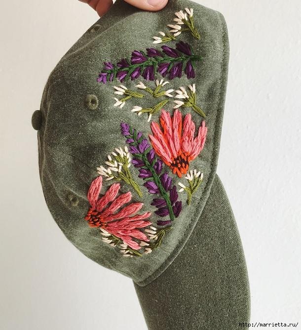 Вышивка на кепке. Идеи декорирования (9) (610x668, 325Kb)
