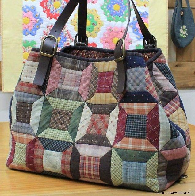 Сшить пляжную сумку в стиле пэчворк 26