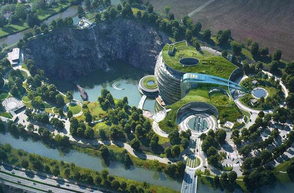 Китай открывает подземный отель в заброшенном карьере