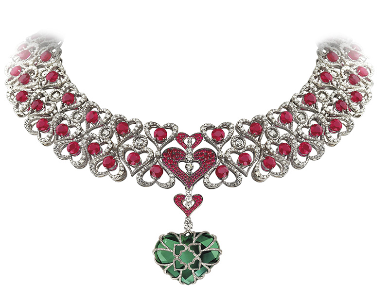 Avakian heart shaped Columbian emerald necklace