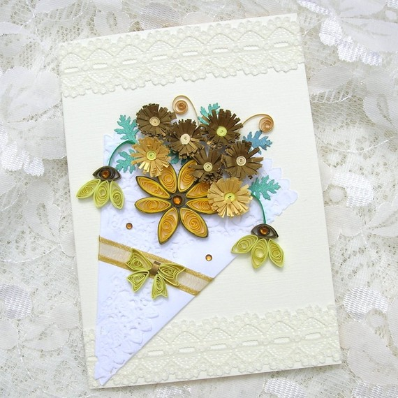 Paper Quilled Fringed Yellow and Gold FLOWERS in a Paper Doily Cone Handmade Greeting Card by Enchanted Quilling on Etsy