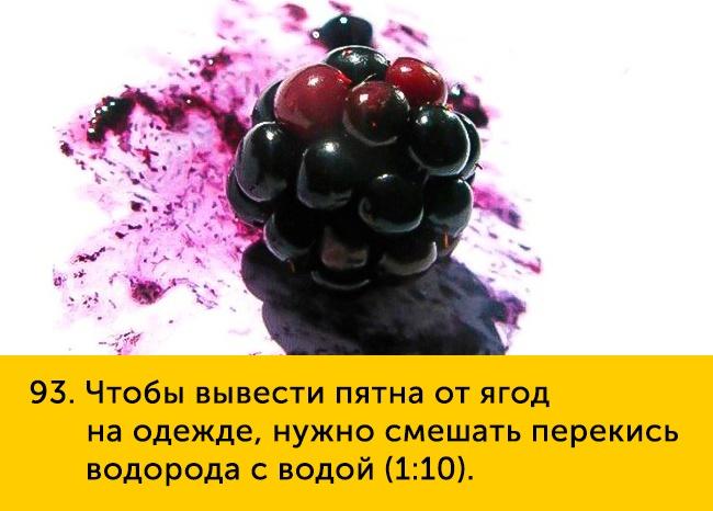 93 Чтобы вывести пятна от ягод на одежде нужно смешать перекись водорода с водой 1 10