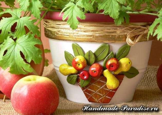 Декор пластиковых горшков для цветов своими руками