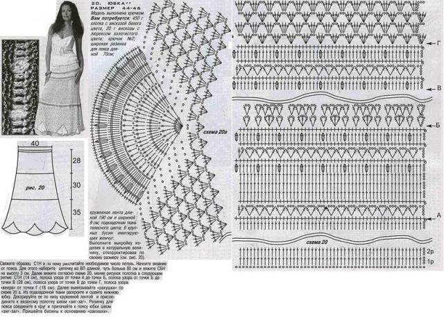 Фото юбки крючком схемы и описание
