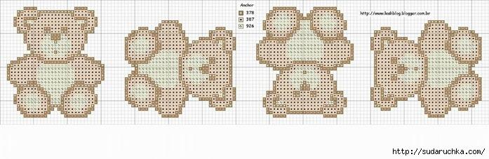 Схема медведей вышивка